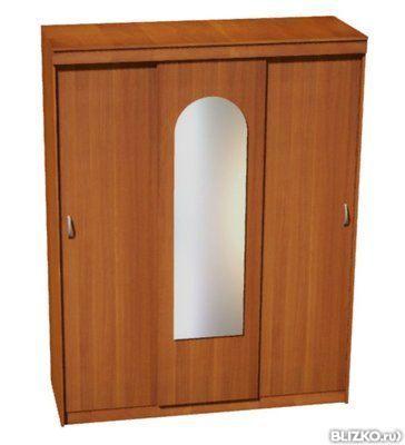 шкаф купе трехдверный с зеркалом аркой цвет итальянский орех в